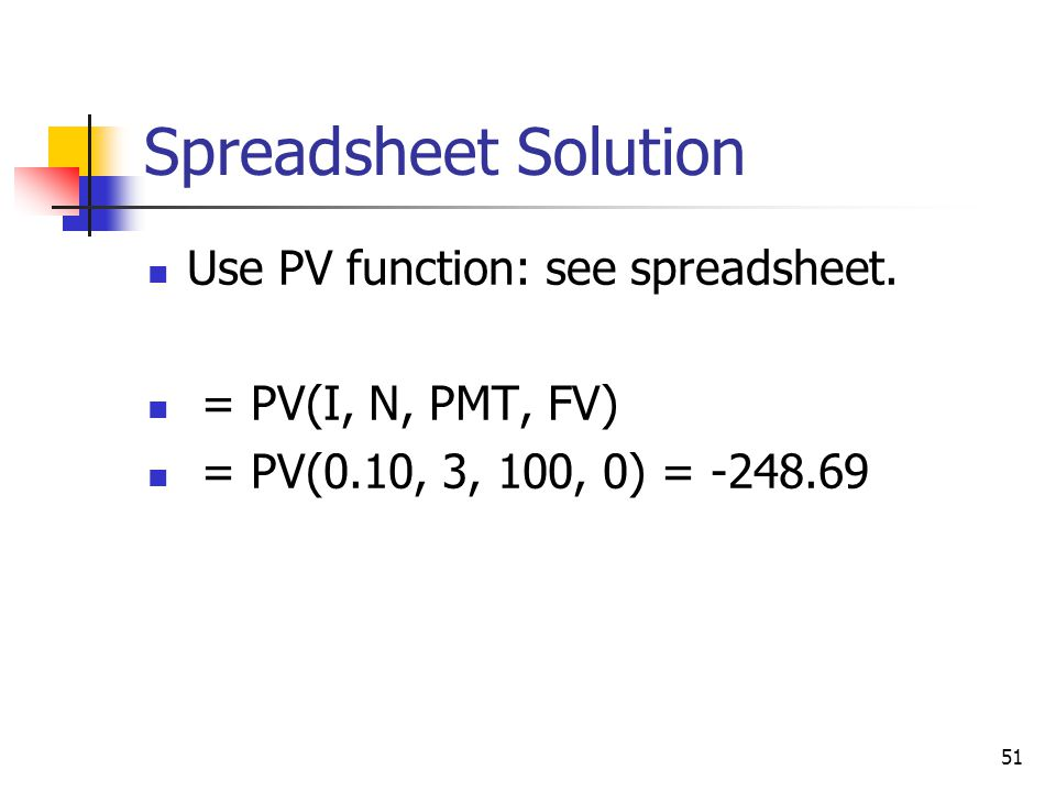 Spreadsheet Solution Use PV function: see spreadsheet.