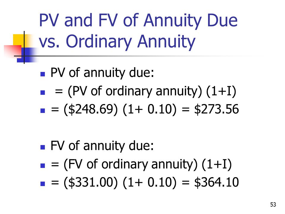 PV and FV of Annuity Due vs. Ordinary Annuity