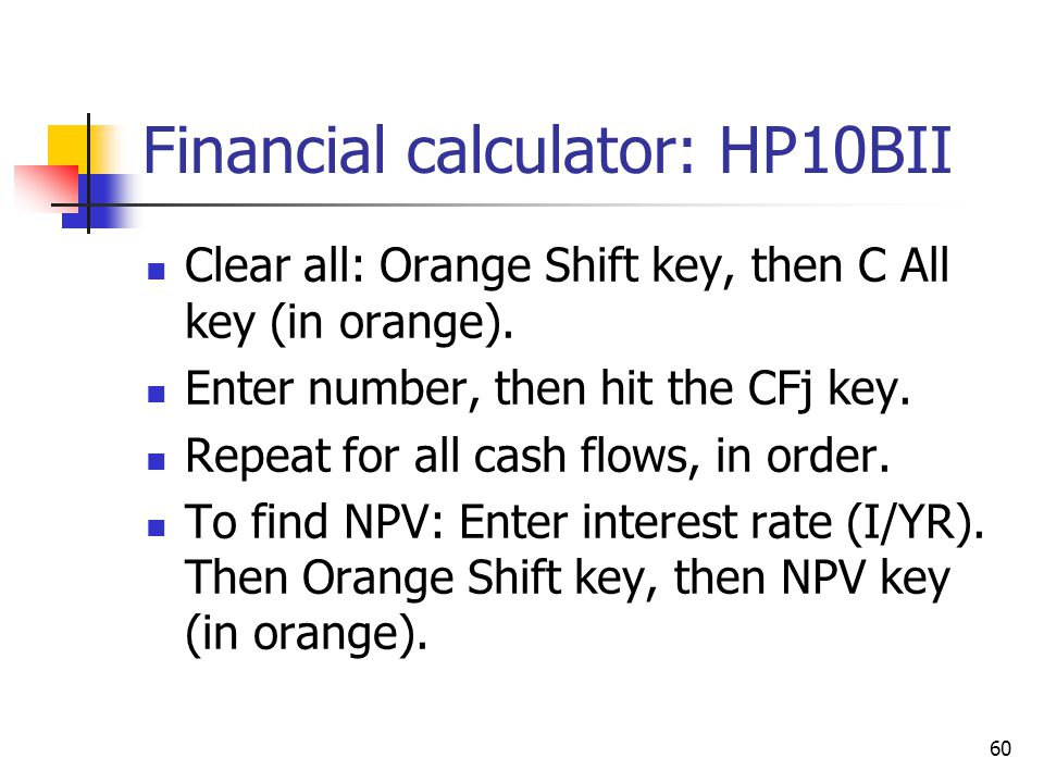 Financial calculator: HP10BII