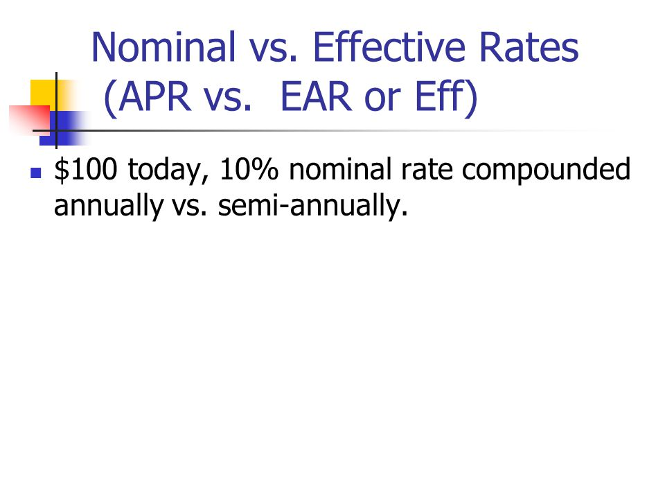 Nominal vs. Effective Rates (APR vs. EAR or Eff)