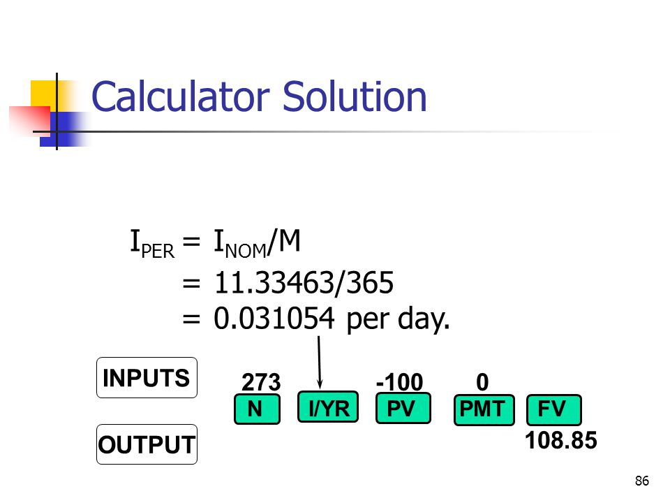 Calculator Solution IPER = INOM/M = 11.33463/365 = 0.031054 per day.