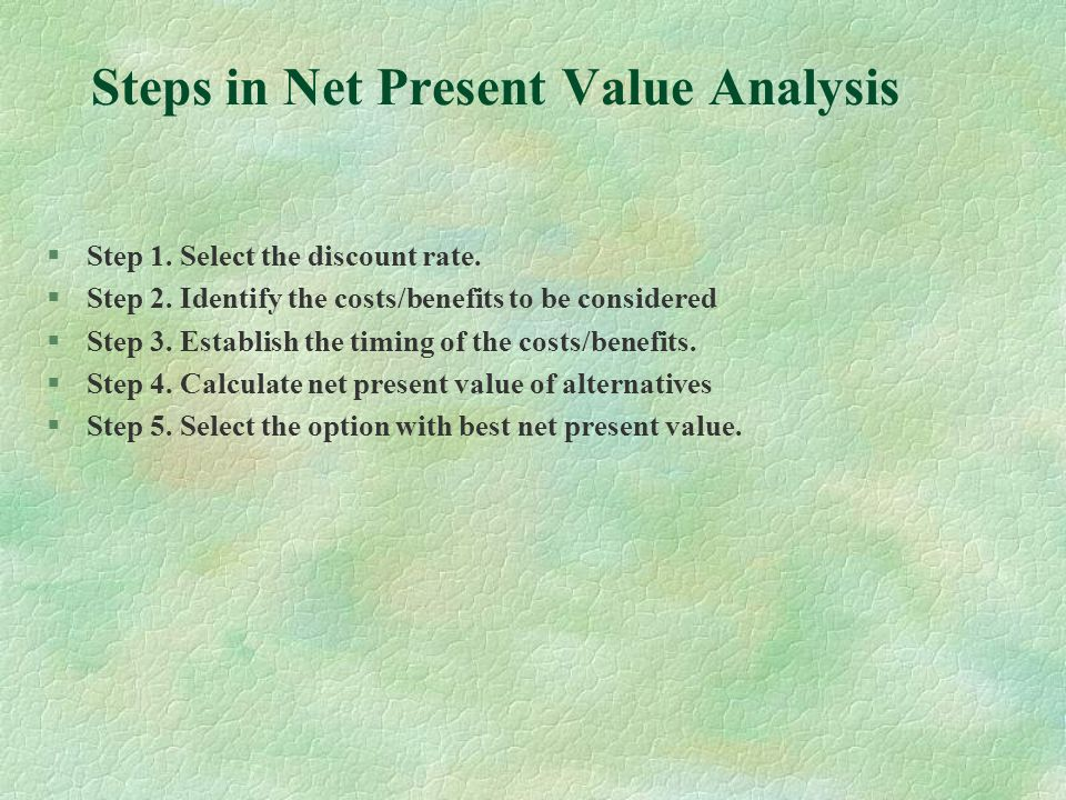 Steps in Net Present Value Analysis