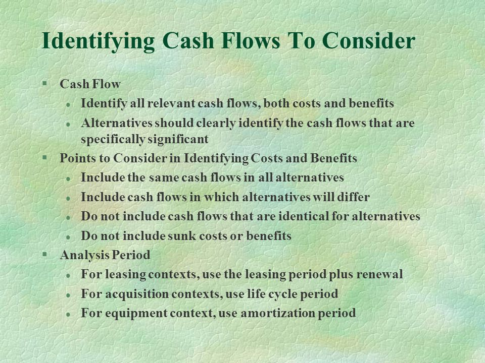 Identifying Cash Flows To Consider
