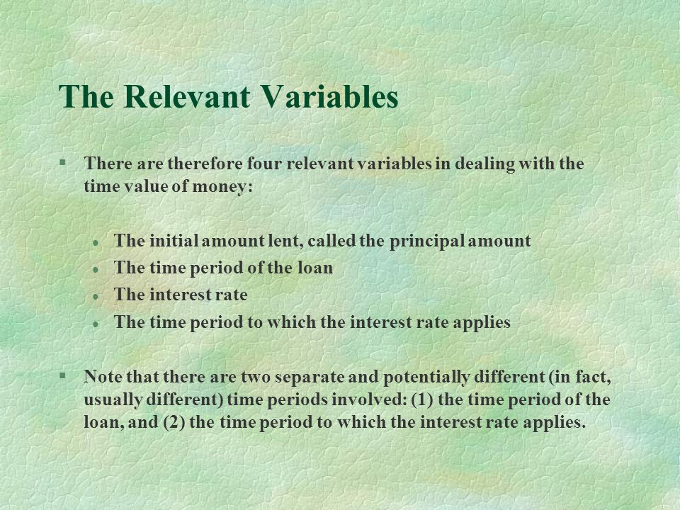 The Relevant Variables