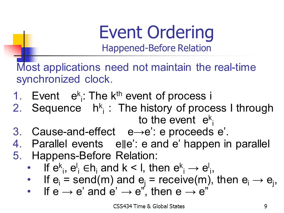 Event Ordering Happened-Before Relation