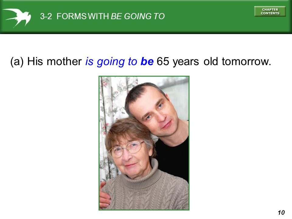 (a) His mother is going to be 65 years old tomorrow.