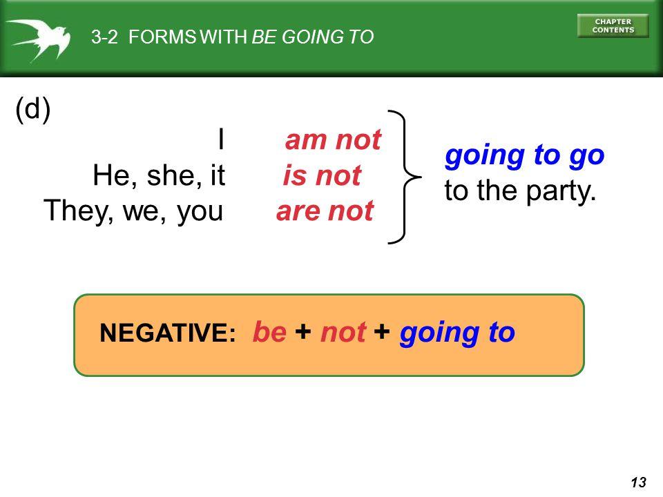 (d) I am not going to go He, she, it is not to the party.