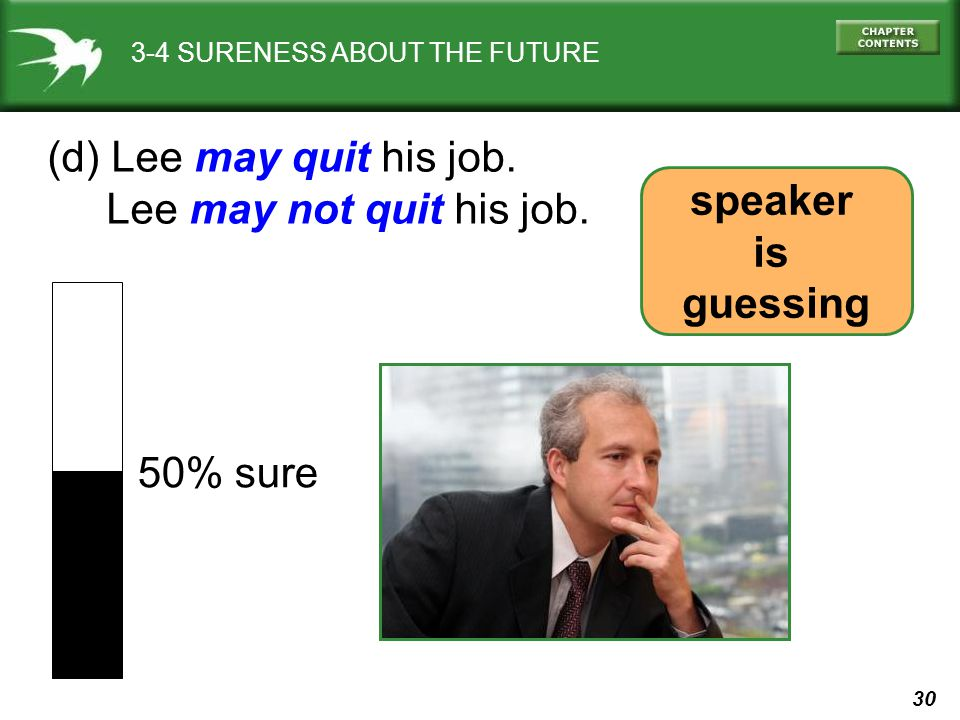 (d) Lee may quit his job. Lee may not quit his job. speaker is