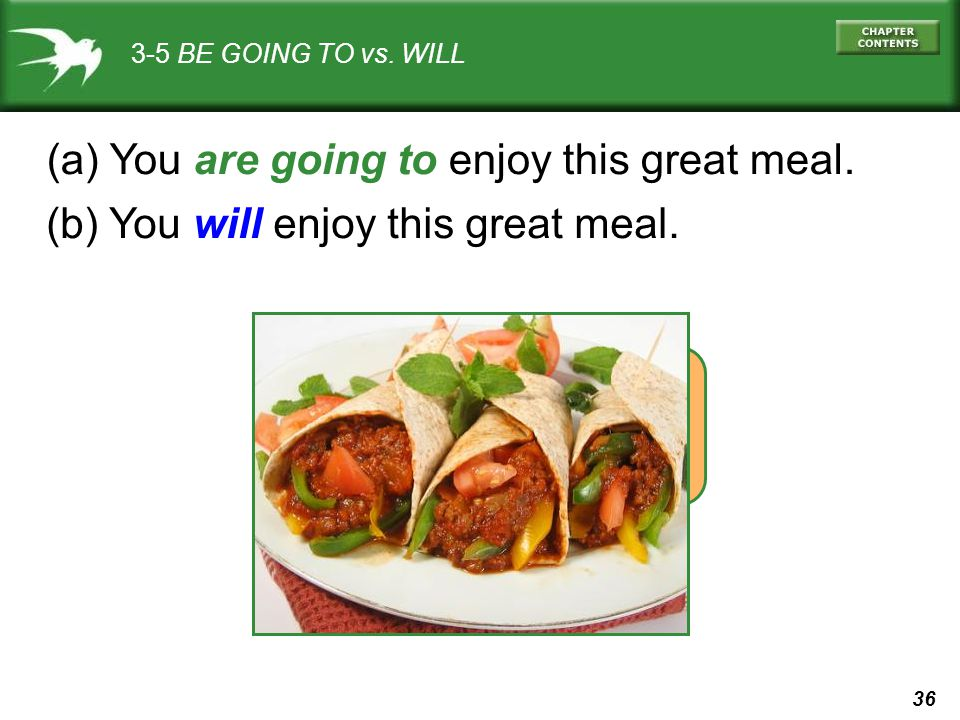 (a) You are going to enjoy this great meal.