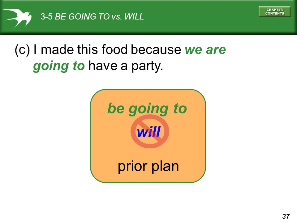 be going to will prior plan (c) I made this food because we are