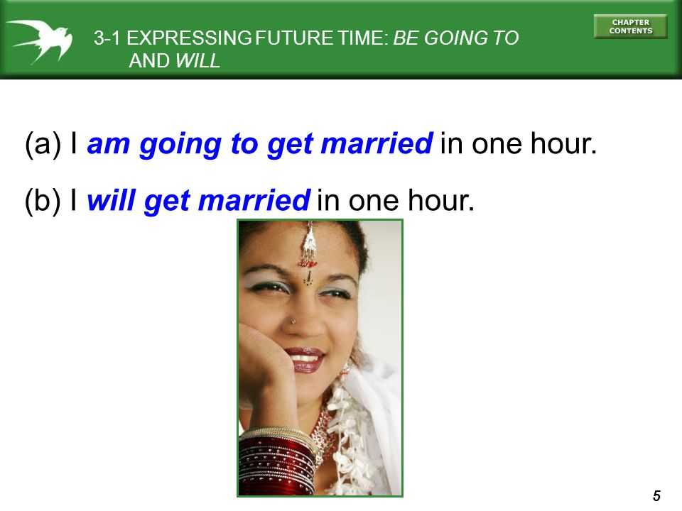 (a) I am going to get married in one hour.