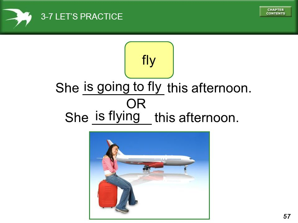 She ___________ this afternoon. is going to fly OR