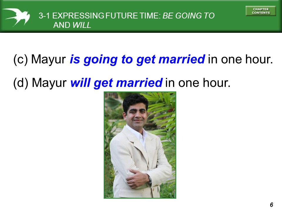 (c) Mayur is going to get married in one hour.
