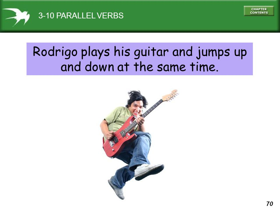 Rodrigo plays his guitar and jumps up and down at the same time.