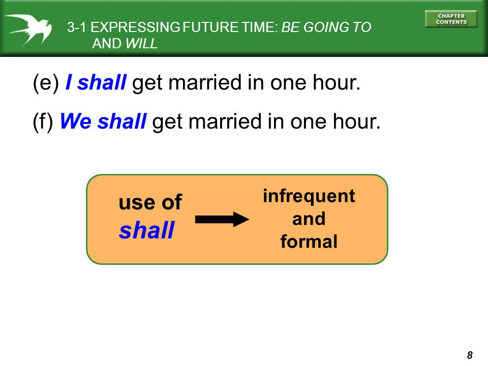 shall (e) I shall get married in one hour.