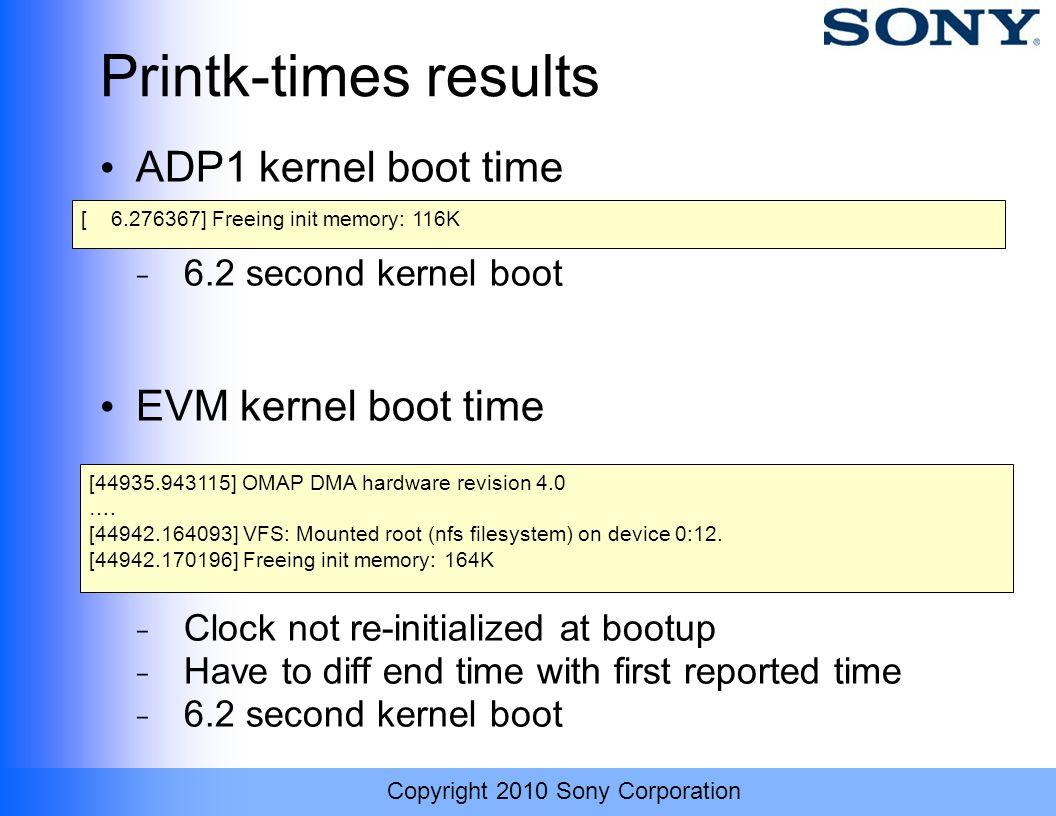 Printk-times results ADP1 kernel boot time EVM kernel boot time
