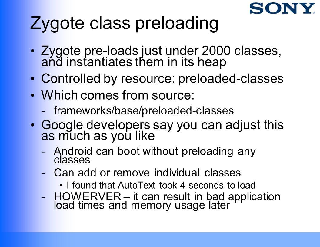 Zygote class preloading