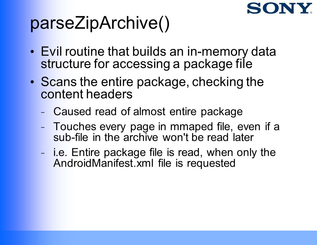 parseZipArchive() Evil routine that builds an in-memory data structure for accessing a package file.