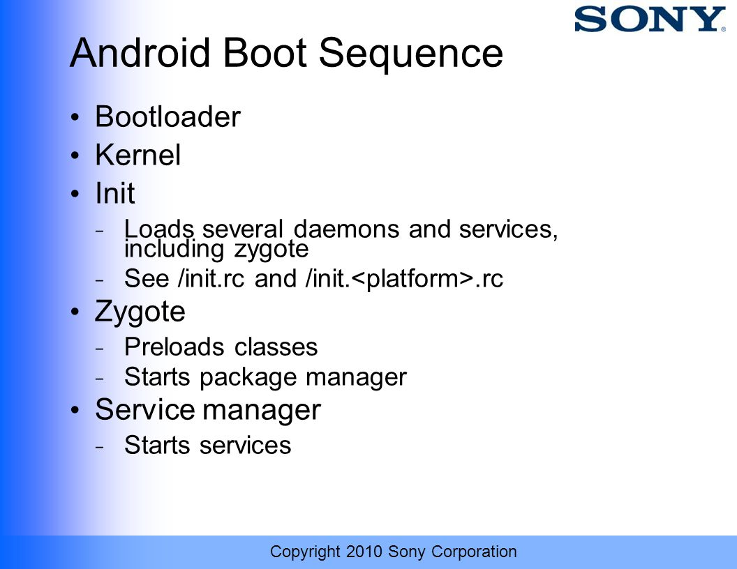 Android Boot Sequence Bootloader Kernel Init Zygote Service manager