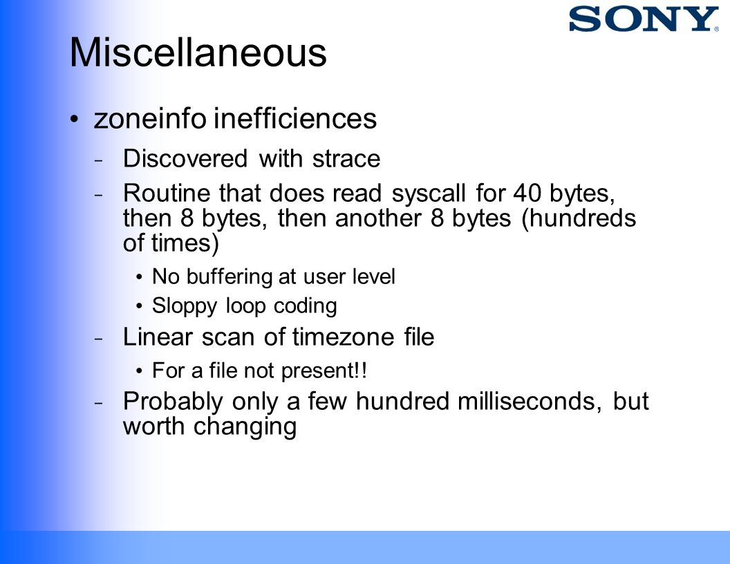Miscellaneous zoneinfo inefficiences Discovered with strace