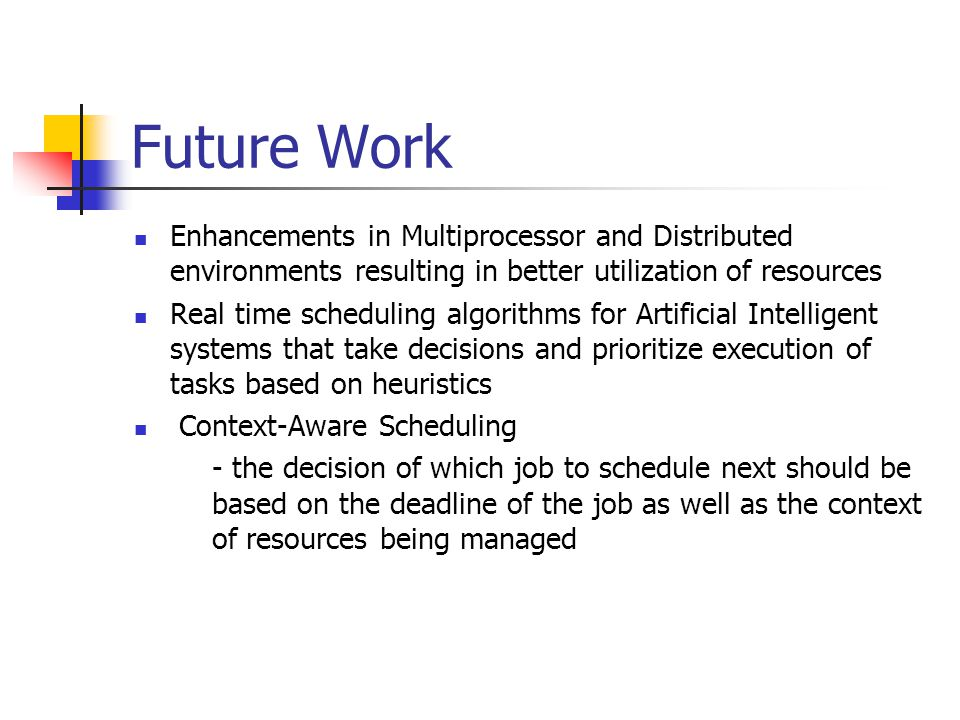 Future Work Enhancements in Multiprocessor and Distributed environments resulting in better utilization of resources.