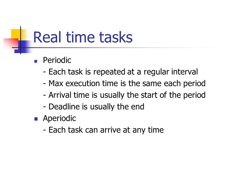 Real time tasks Periodic - Each task is repeated at a regular interval