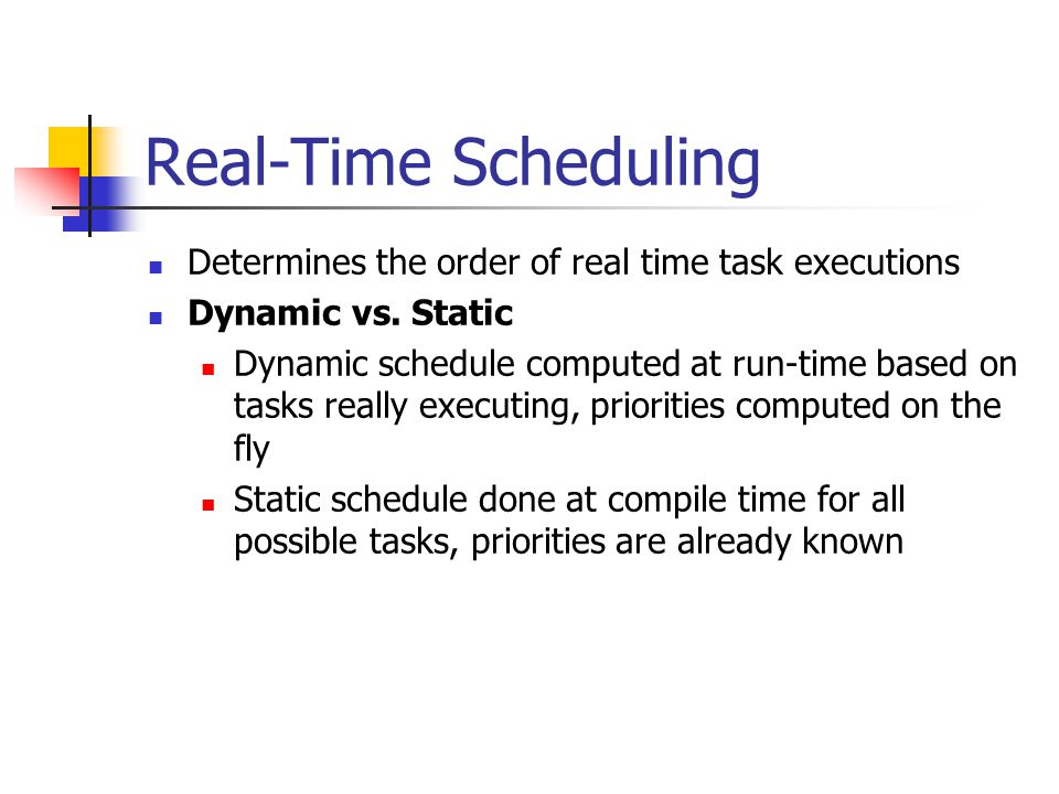 Real-Time Scheduling Determines the order of real time task executions
