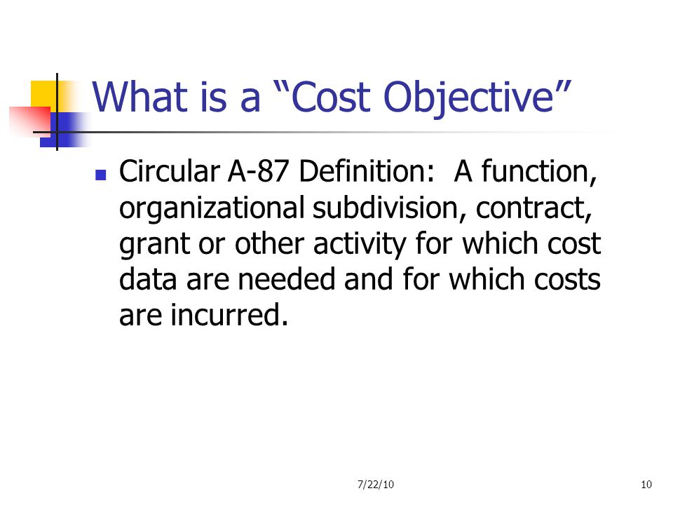 What is a Cost Objective