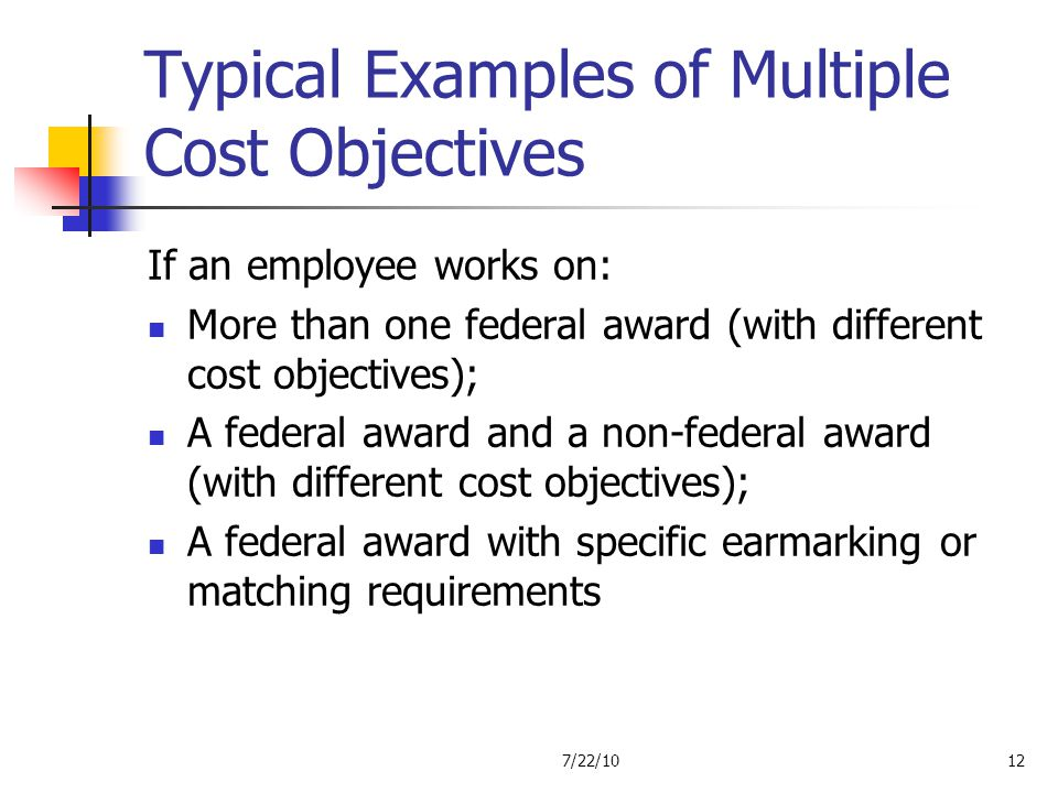 Typical Examples of Multiple Cost Objectives