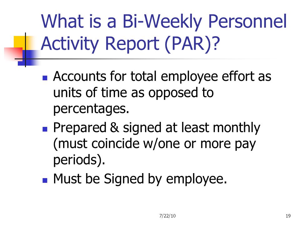 What is a Bi-Weekly Personnel Activity Report (PAR)