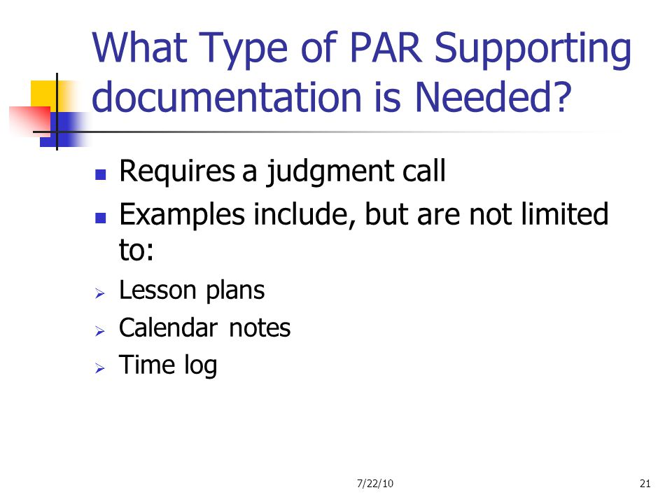 What Type of PAR Supporting documentation is Needed