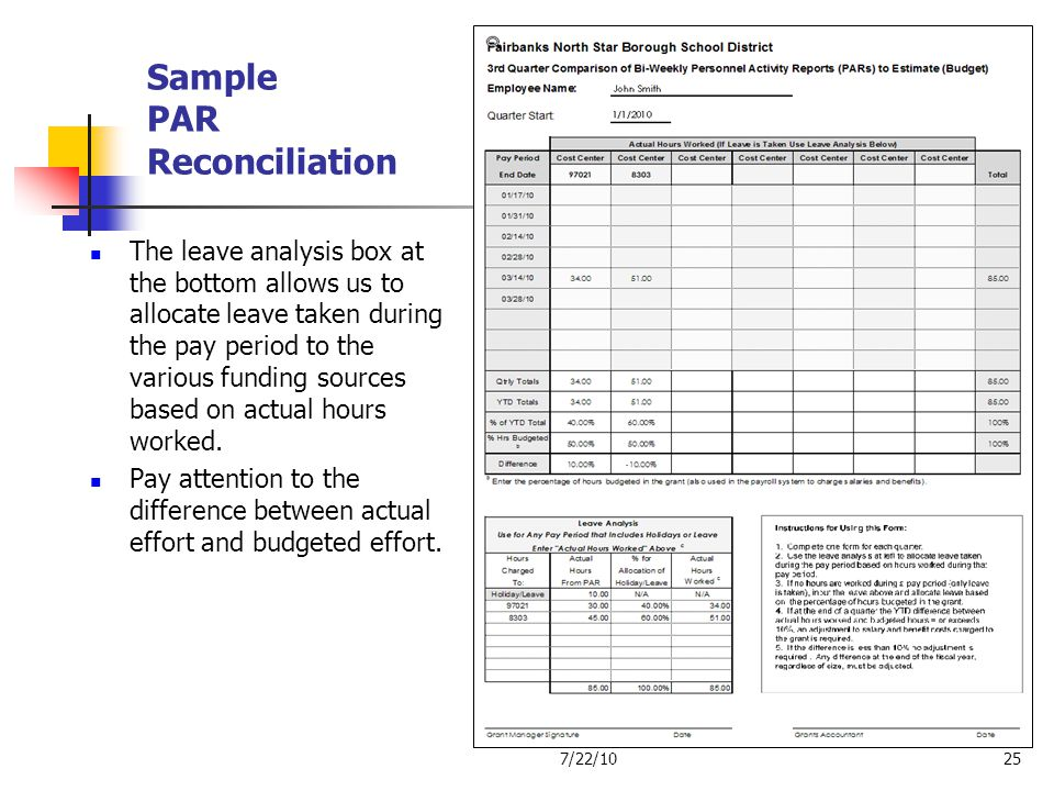 Sample PAR Reconciliation