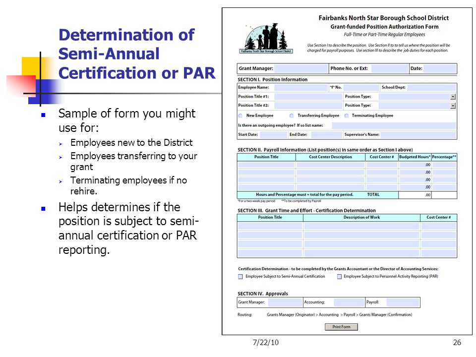 Determination of Semi-Annual Certification or PAR
