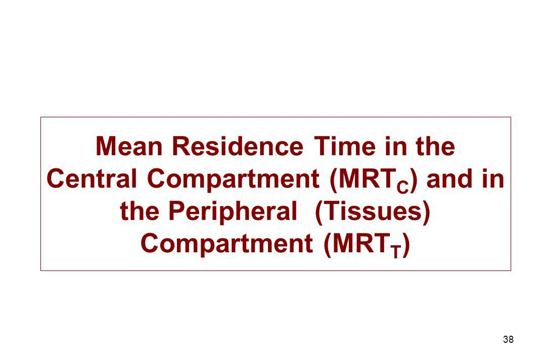 Mean Residence Time in the Central Compartment (MRTC) and in the Peripheral (Tissues) Compartment (MRTT)