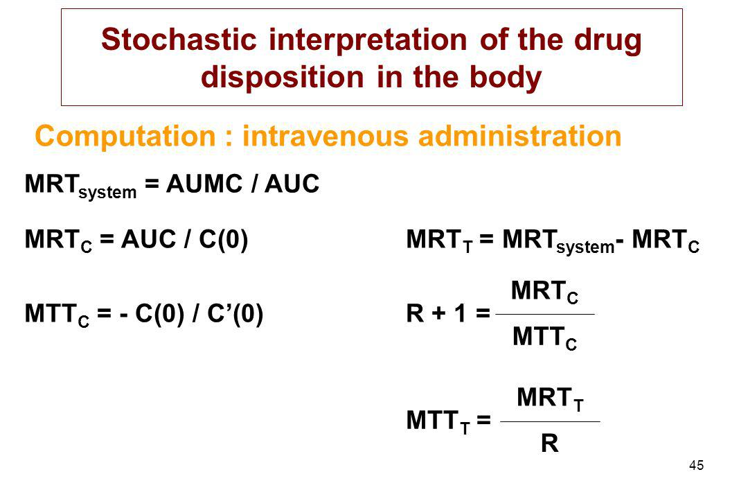 Stochastic interpretation of the drug disposition in the body