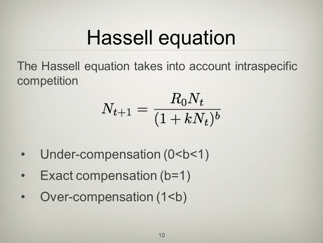 Hassell equation Under-compensation (0<b<1)