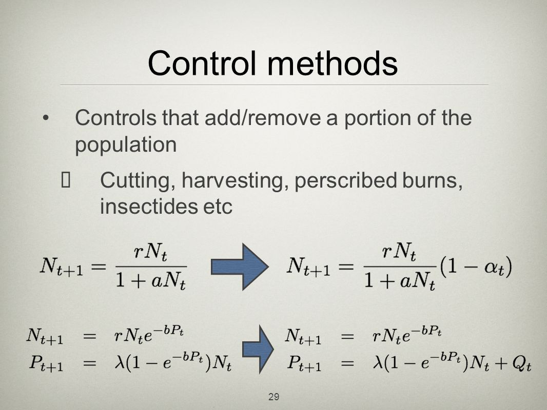 Control methods Controls that add/remove a portion of the population