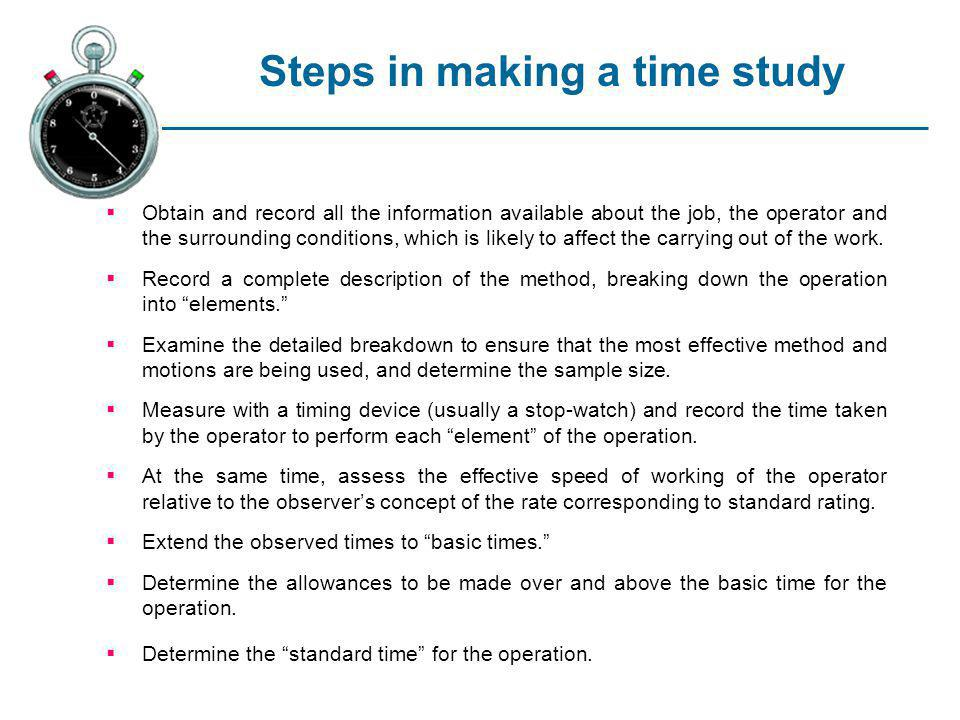 Steps in making a time study