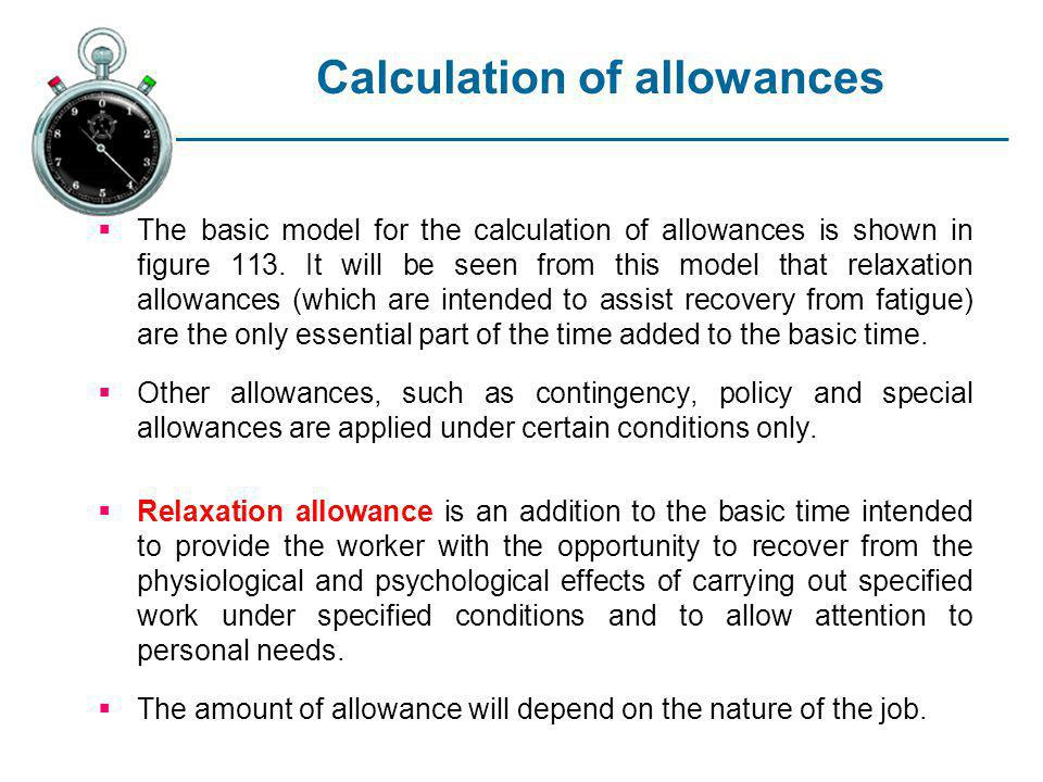 Calculation of allowances