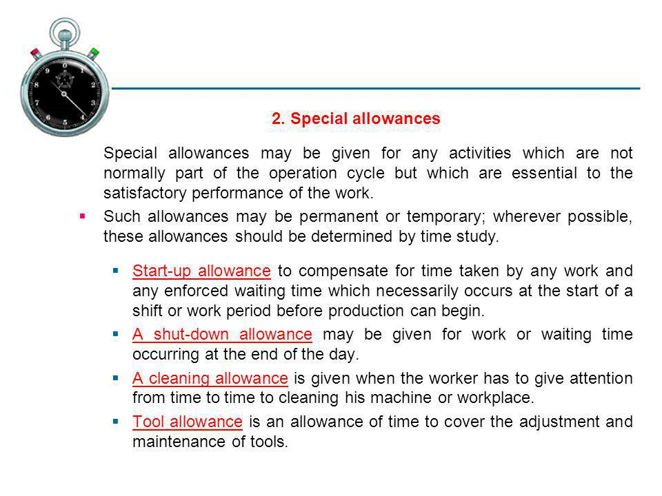 2. Special allowances