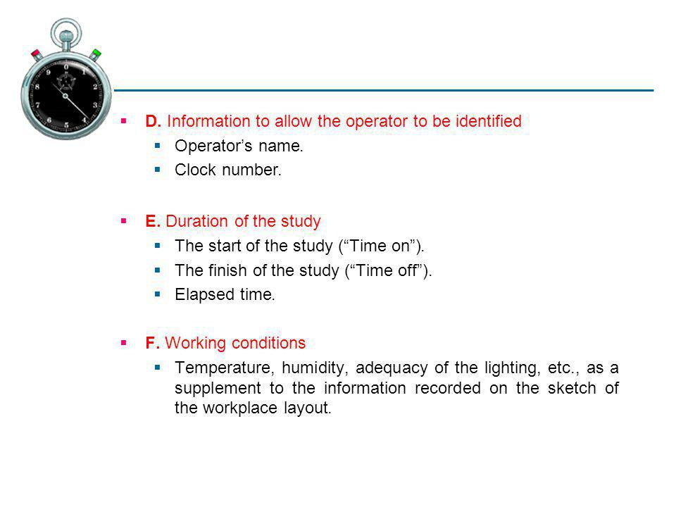 D. Information to allow the operator to be identified