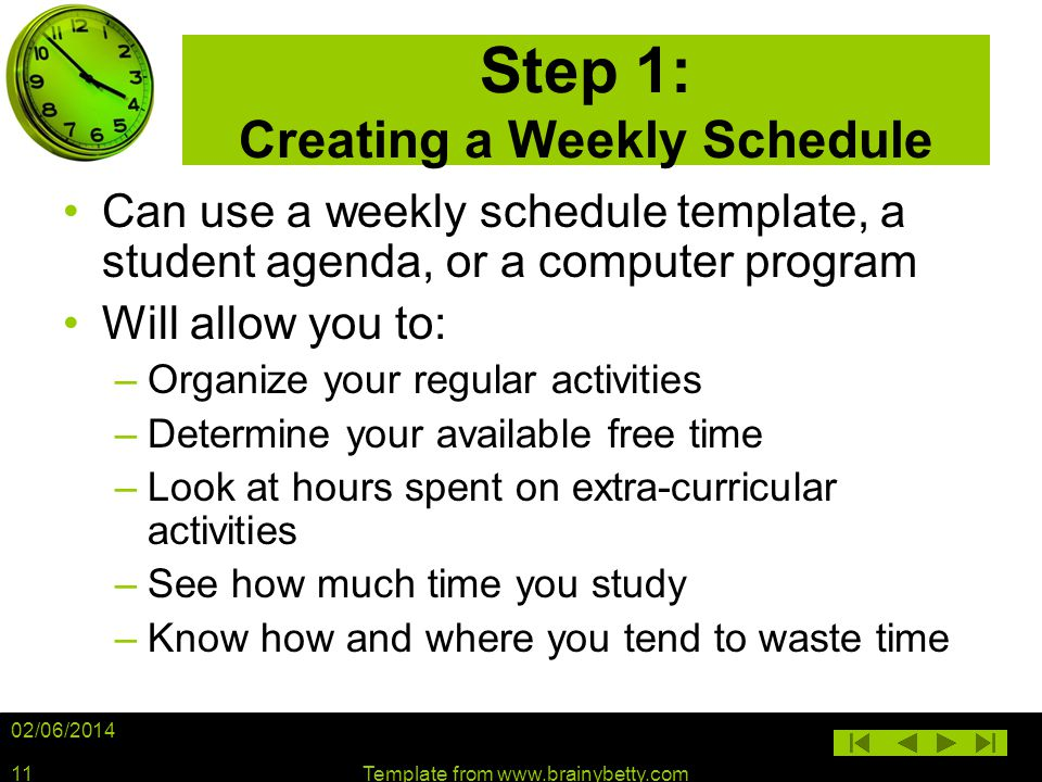 Step 1: Creating a Weekly Schedule