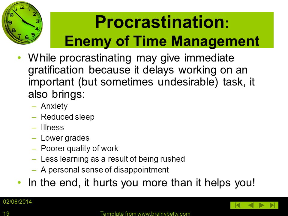 Procrastination: Enemy of Time Management