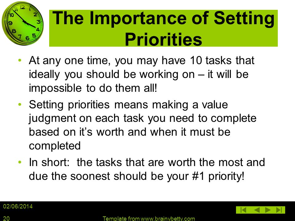 The Importance of Setting Priorities