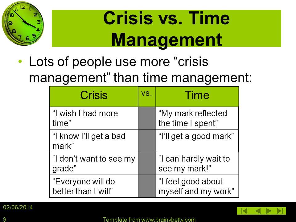 Crisis vs. Time Management