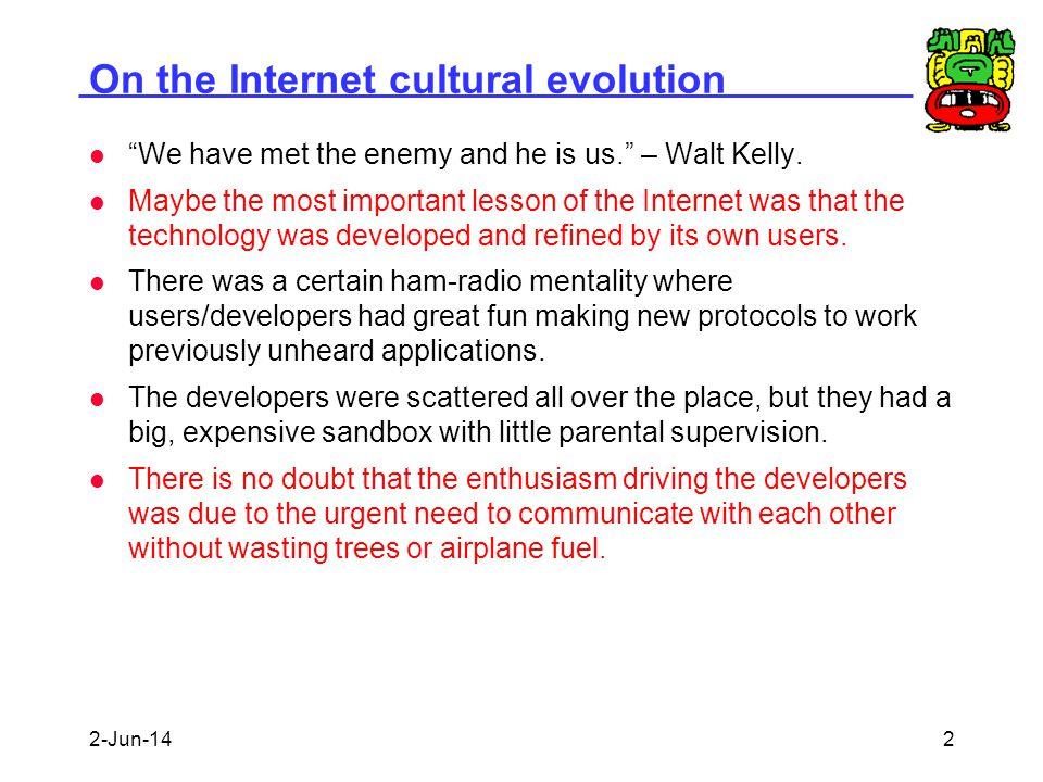 On the Internet cultural evolution