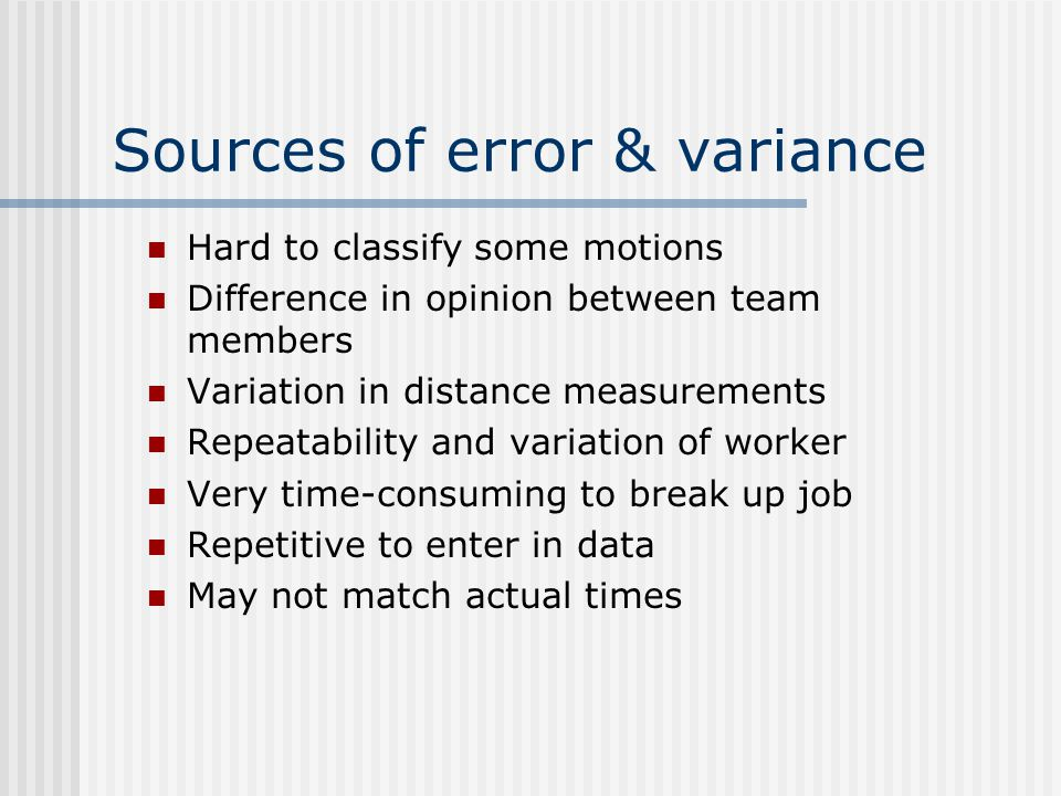 Sources of error & variance