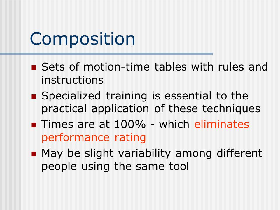 Composition Sets of motion-time tables with rules and instructions
