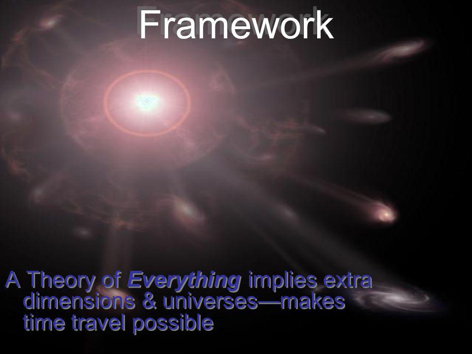 Framework A Theory of Everything implies extra dimensions & universes—makes time travel possible