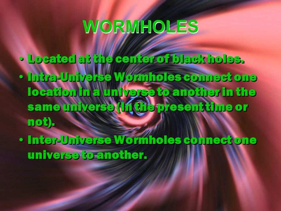 WORMHOLES Located at the center of black holes.